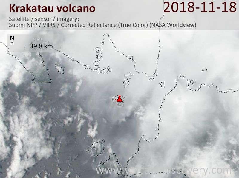 Satellite image of Krakatau volcano on 19 Nov 2018