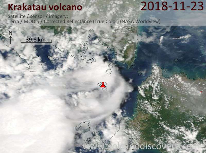 Satellite image of Krakatau volcano on 23 Nov 2018