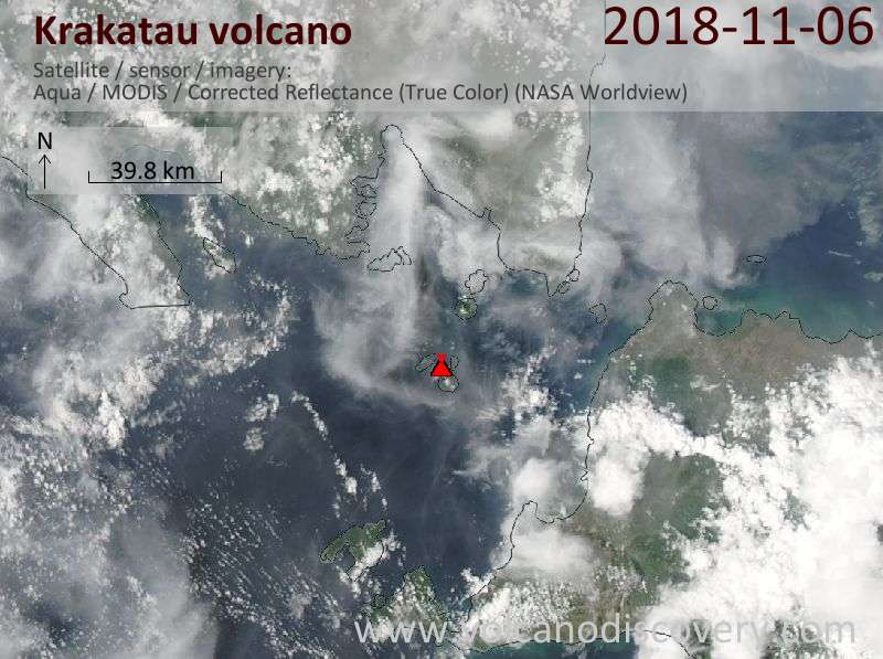 Satellite image of Krakatau volcano on  6 Nov 2018