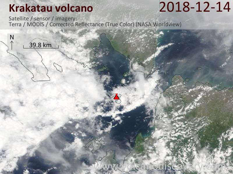 Satellite image of Krakatau volcano on 14 Dec 2018