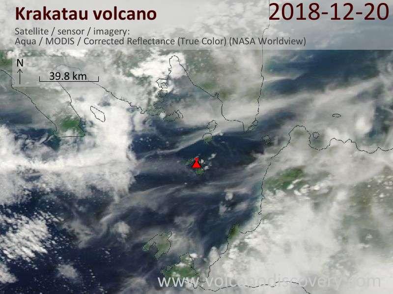 Satellite image of Krakatau volcano on 20 Dec 2018