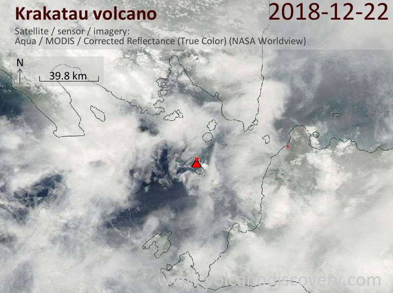 Satellite image of Krakatau volcano on 23 Dec 2018