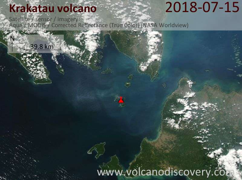 Satellite image of Krakatau volcano on 15 Jul 2018