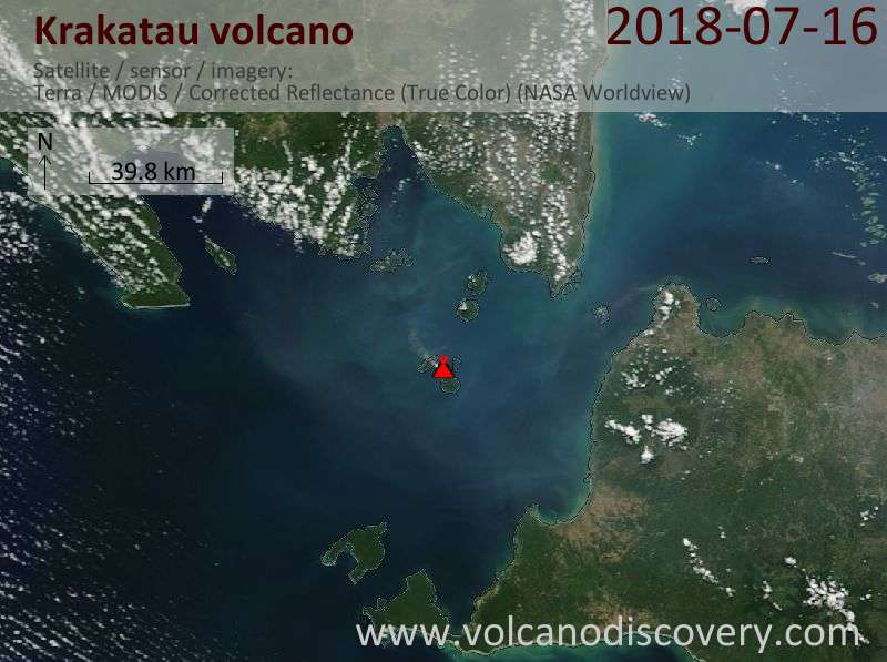 Satellite image of Krakatau volcano on 16 Jul 2018