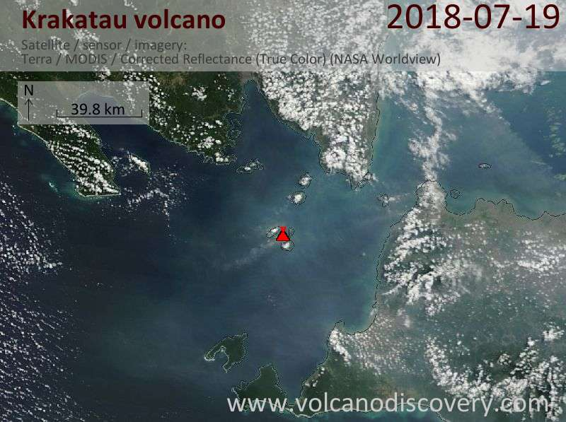 Satellite image of Krakatau volcano on 19 Jul 2018