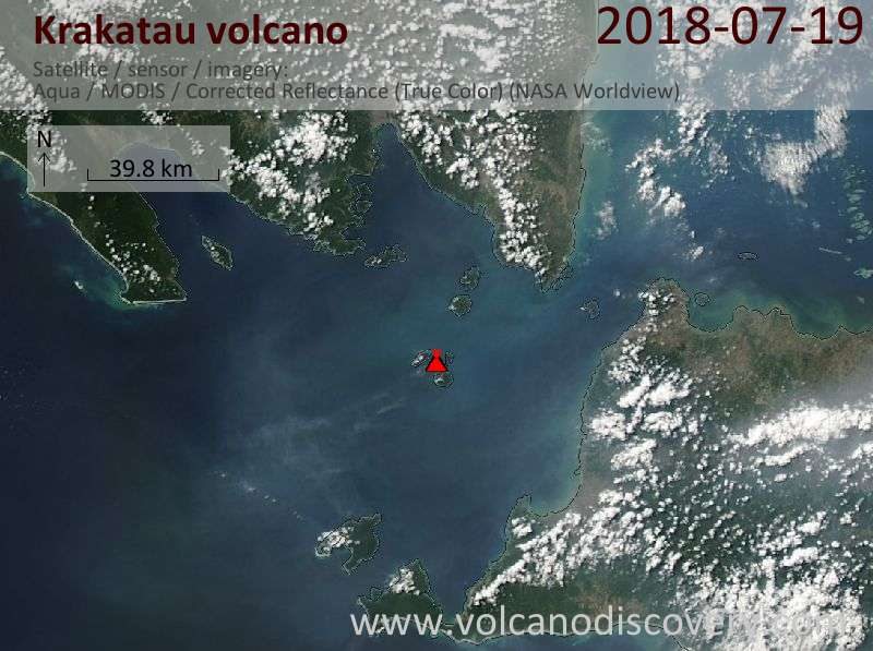 Satellite image of Krakatau volcano on 20 Jul 2018