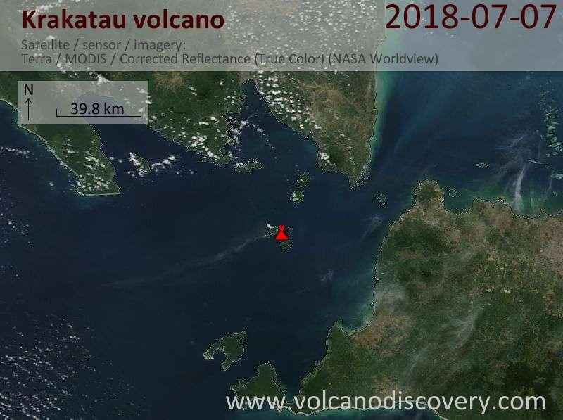Satellite image of Krakatau volcano on  7 Jul 2018