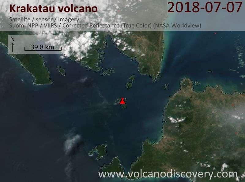 Satellite image of Krakatau volcano on  8 Jul 2018