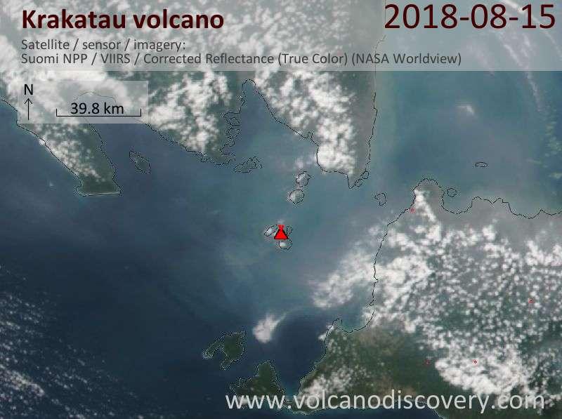 Satellite image of Krakatau volcano on 16 Aug 2018