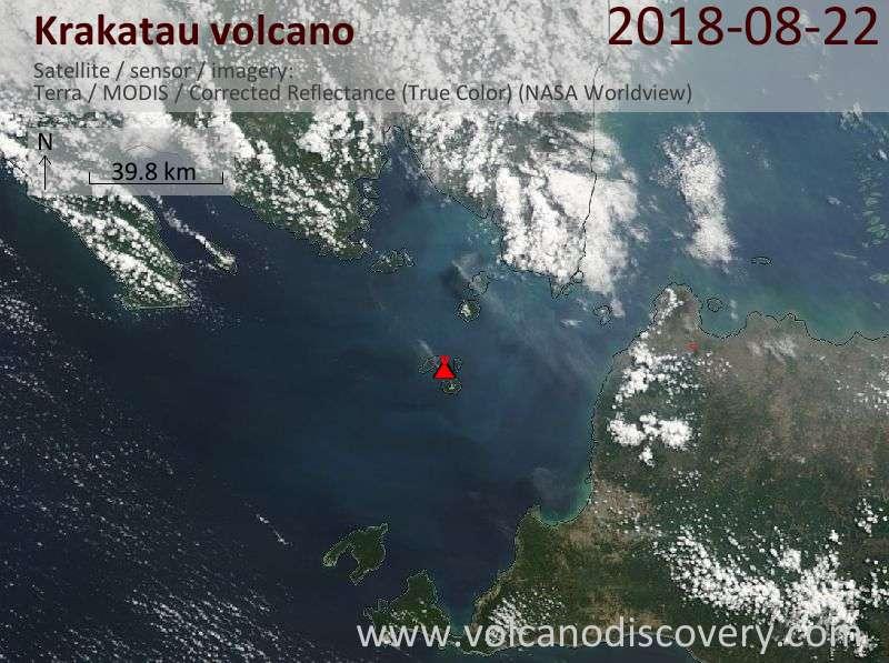 Satellite image of Krakatau volcano on 22 Aug 2018