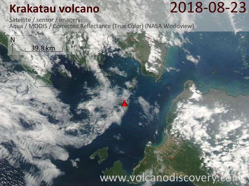 Satellite image of Krakatau volcano on 23 Aug 2018