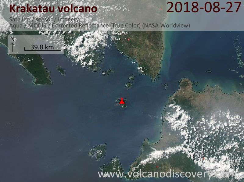 Satellite image of Krakatau volcano on 27 Aug 2018