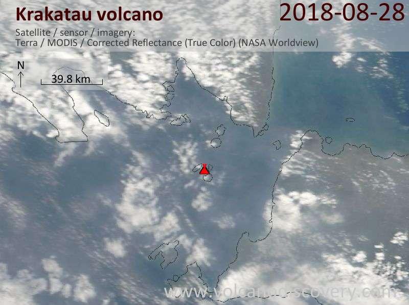 Satellite image of Krakatau volcano on 28 Aug 2018