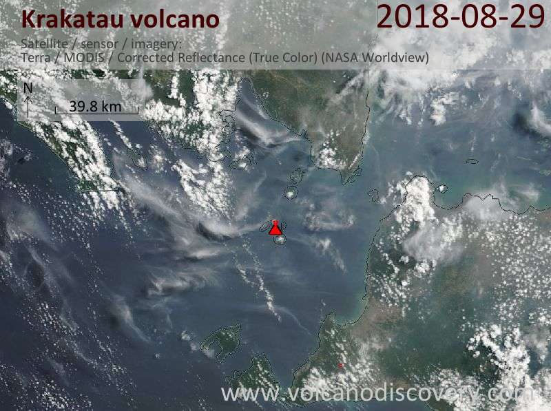 Satellite image of Krakatau volcano on 29 Aug 2018