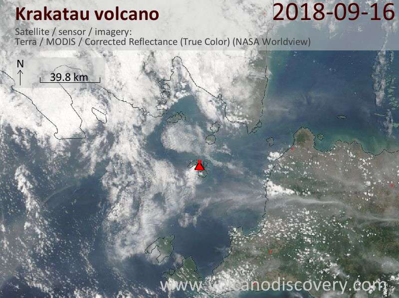 Satellite image of Krakatau volcano on 17 Sep 2018