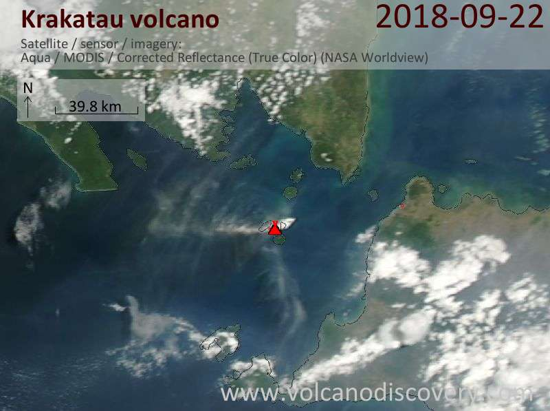 Satellite image of Krakatau volcano on 22 Sep 2018