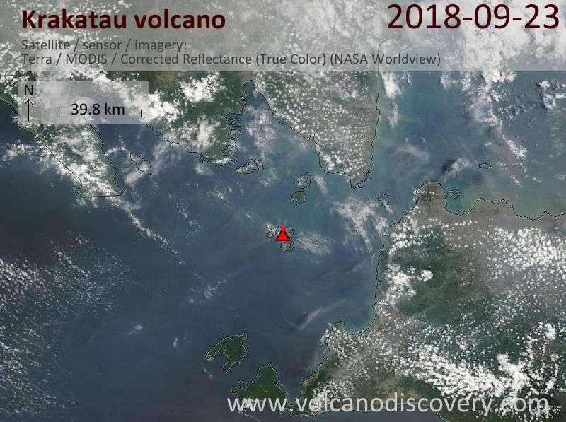 Satellite image of Krakatau volcano on 23 Sep 2018