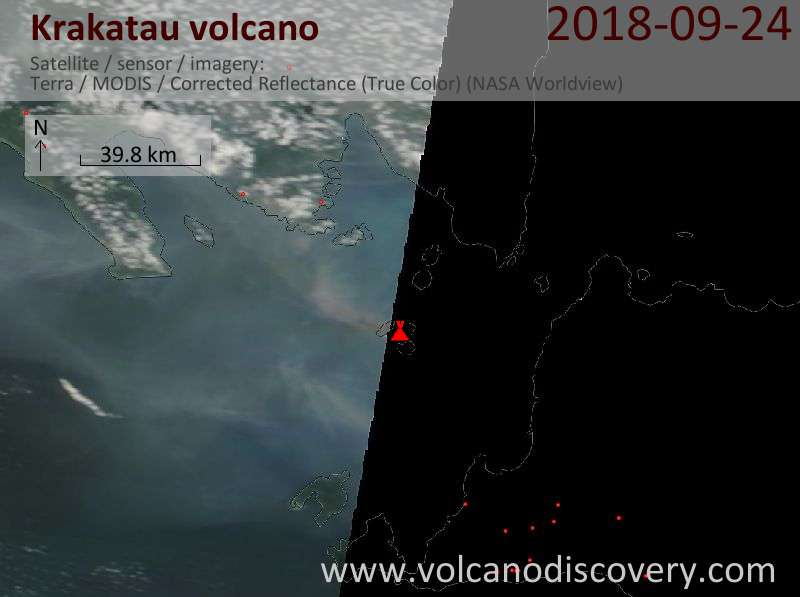 Satellite image of Krakatau volcano on 24 Sep 2018