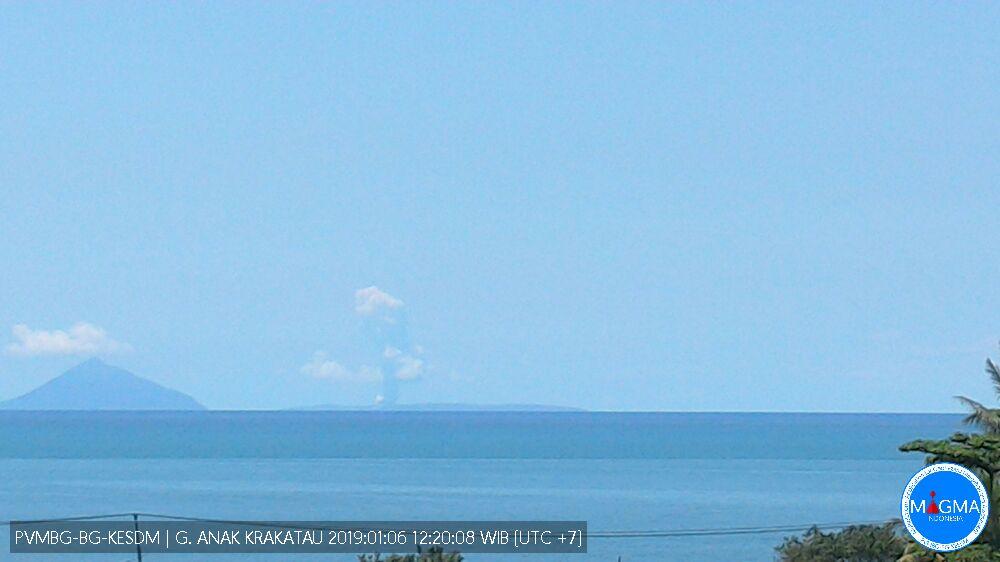 Steam plume rising from Anak Krakatau earlier today (image: PVMBG)