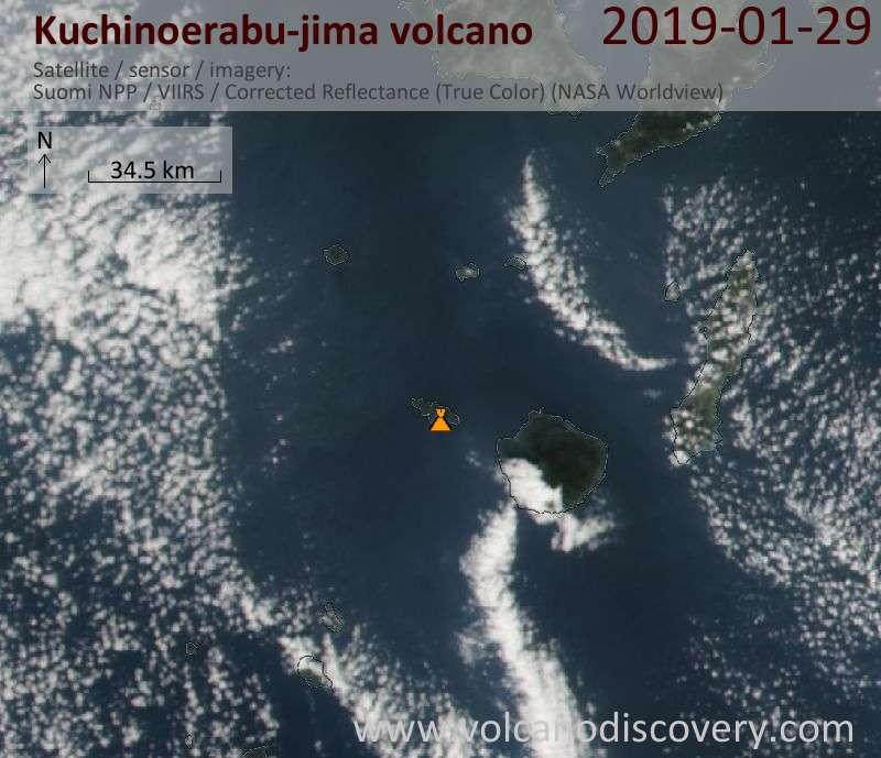 Спутниковое изображение вулкана Kuchinoerabu-jima 29 Jan 2019