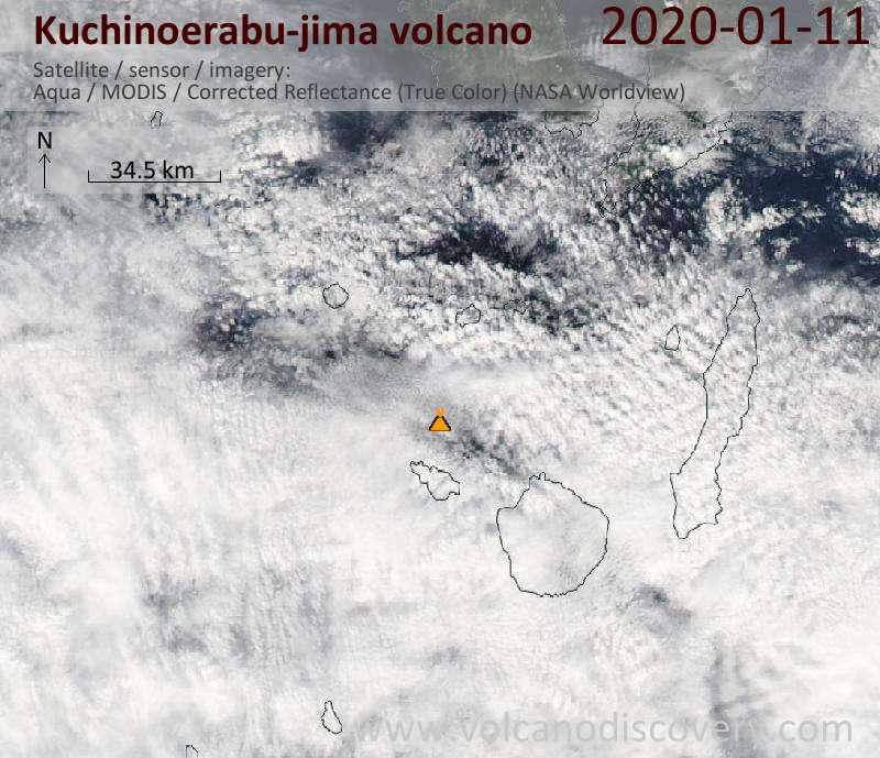 Спутниковое изображение вулкана Kuchinoerabu-jima 11 Jan 2020