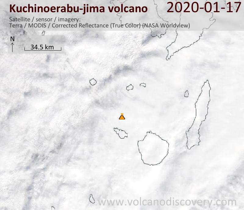 Satellitenbild des Kuchinoerabu-jima Vulkans am 17 Jan 2020
