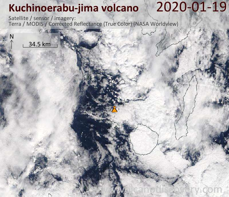 Satellite image of Kuchinoerabu-jima volcano on 19 Jan 2020
