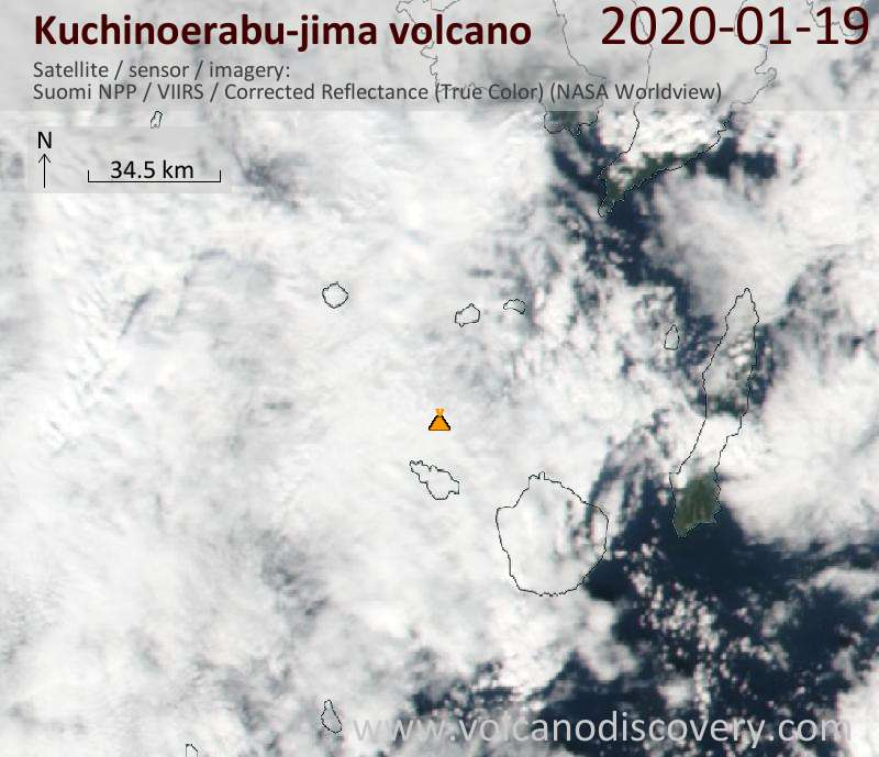 Satellite image of Kuchinoerabu-jima volcano on 20 Jan 2020