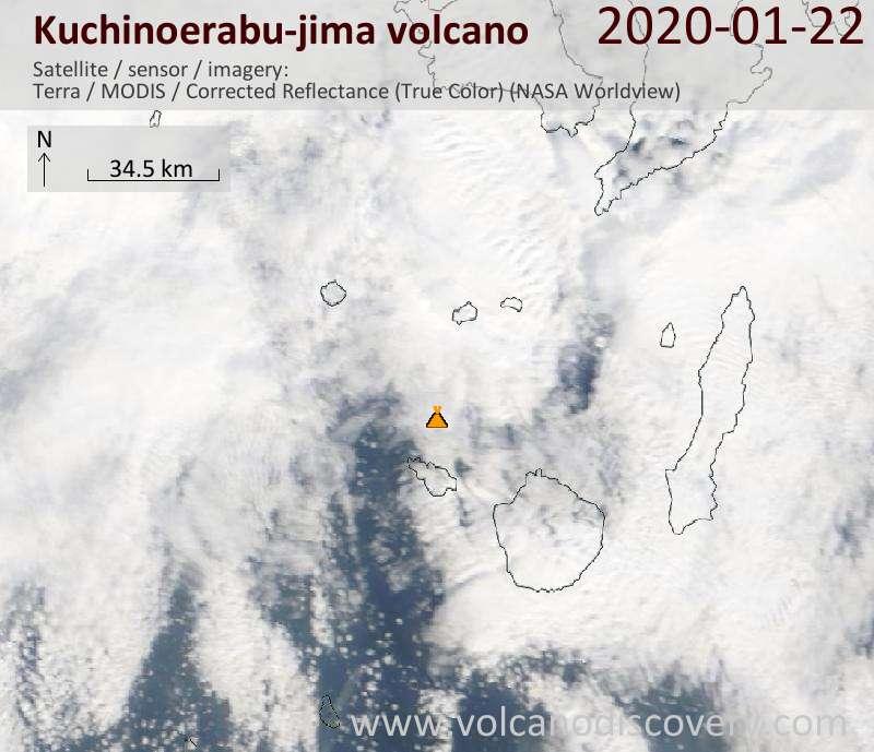 Satellitenbild des Kuchinoerabu-jima Vulkans am 22 Jan 2020