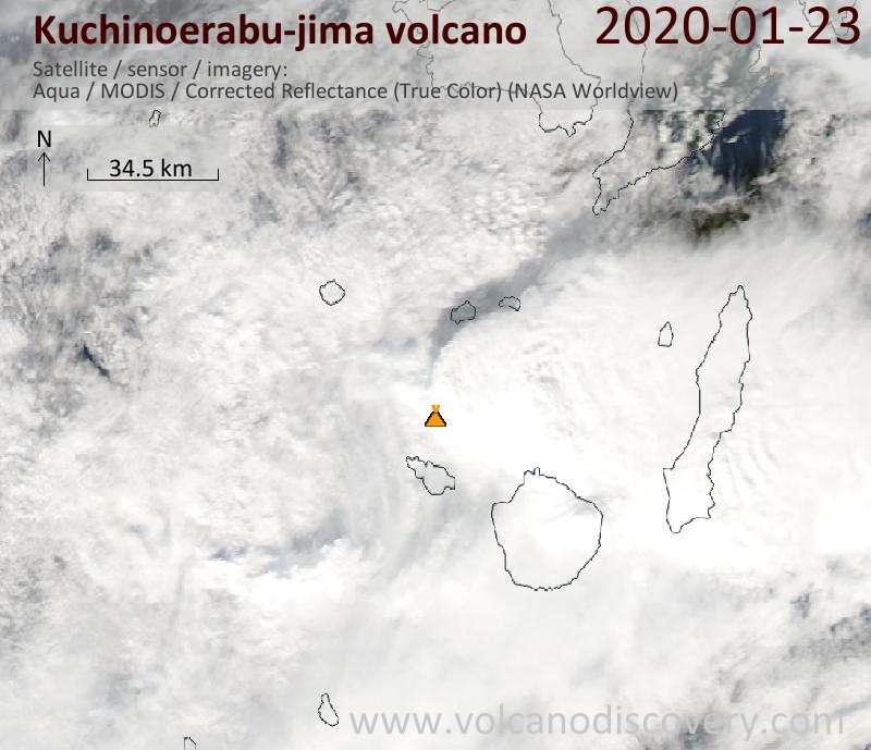 Satellitenbild des Kuchinoerabu-jima Vulkans am 23 Jan 2020