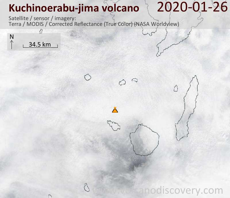 Satellitenbild des Kuchinoerabu-jima Vulkans am 26 Jan 2020