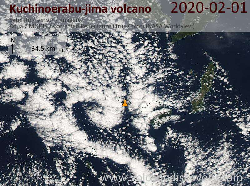 Satellitenbild des Kuchinoerabu-jima Vulkans am  1 Feb 2020