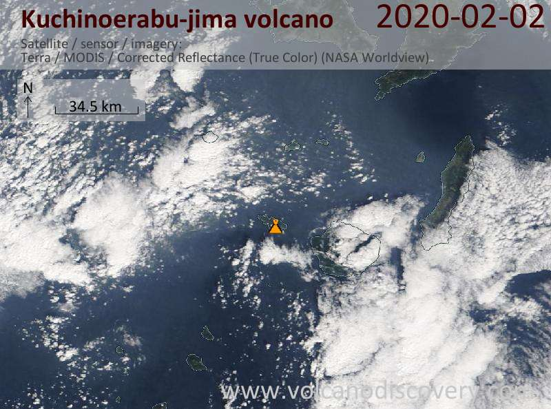Satellitenbild des Kuchinoerabu-jima Vulkans am  2 Feb 2020