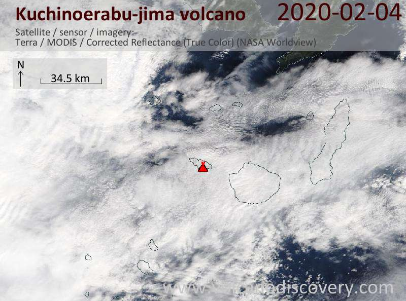 Satellitenbild des Kuchinoerabu-jima Vulkans am  4 Feb 2020