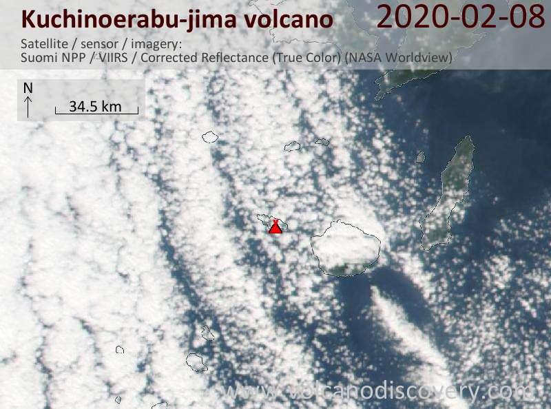 Satellitenbild des Kuchinoerabu-jima Vulkans am  9 Feb 2020