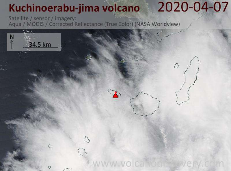 Satellite image of Kuchinoerabu-jima volcano on  7 Apr 2020