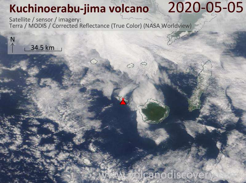 Satellite image of Kuchinoerabu-jima volcano on  5 May 2020