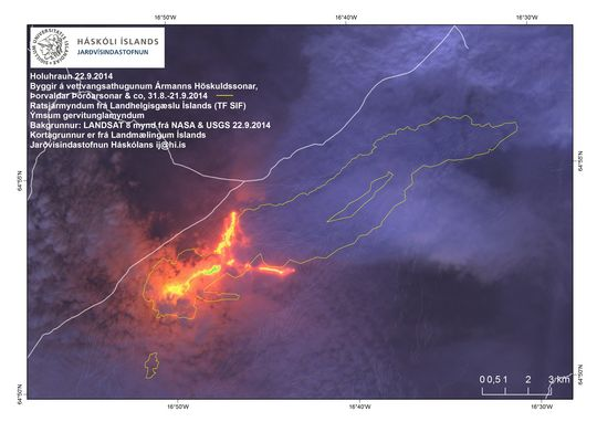 Satellite image from 22 Sep, showing the 2 main lava flows from the Holuhraun eruption (image: Institute of Earth Sciences. Landsat 8, NASA & USGS)