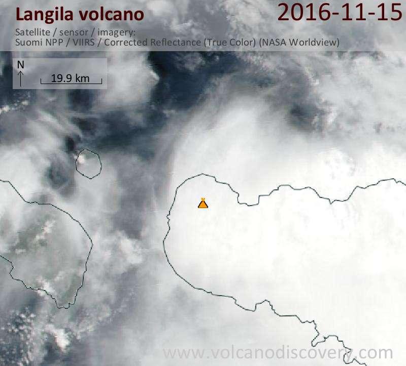 Satellite image of Langila volcano on 15 Nov 2016