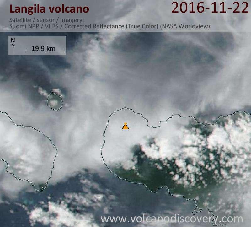 Satellite image of Langila volcano on 22 Nov 2016