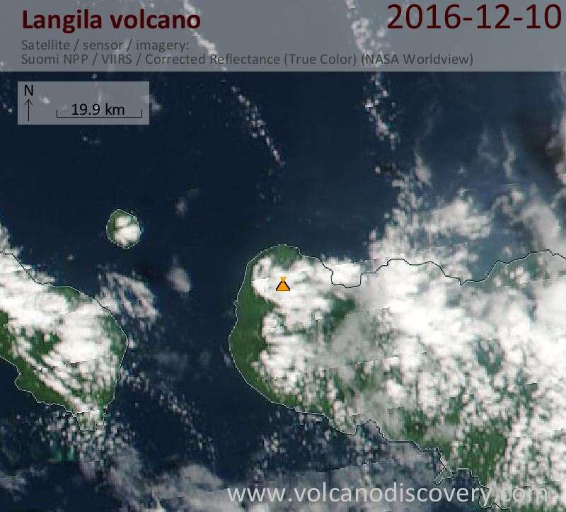 Satellite image of Langila volcano on 10 Dec 2016