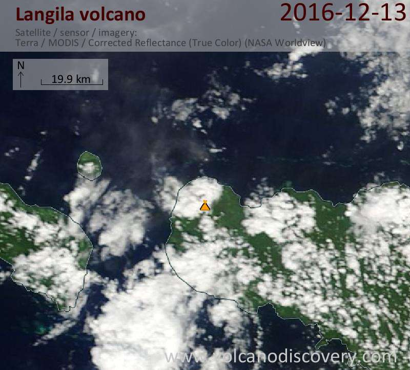 Satellite image of Langila volcano on 13 Dec 2016