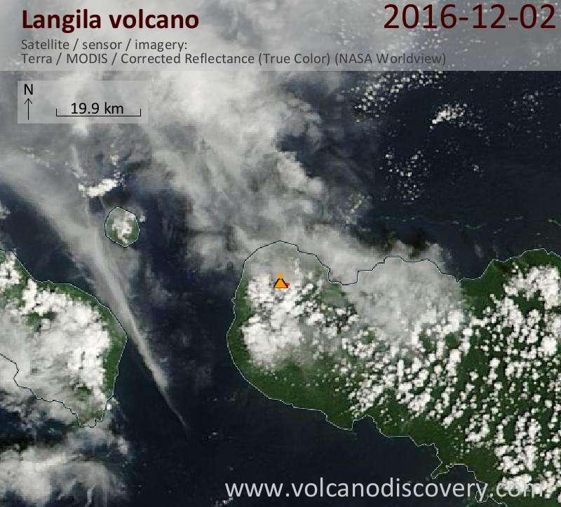 Satellite image of Langila volcano on  2 Dec 2016