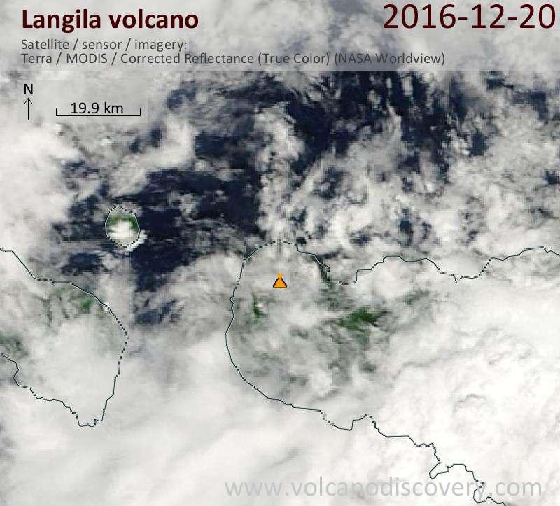 Satellite image of Langila volcano on 20 Dec 2016