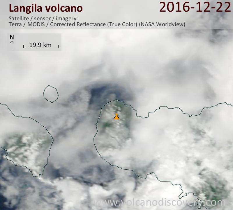 Satellite image of Langila volcano on 22 Dec 2016