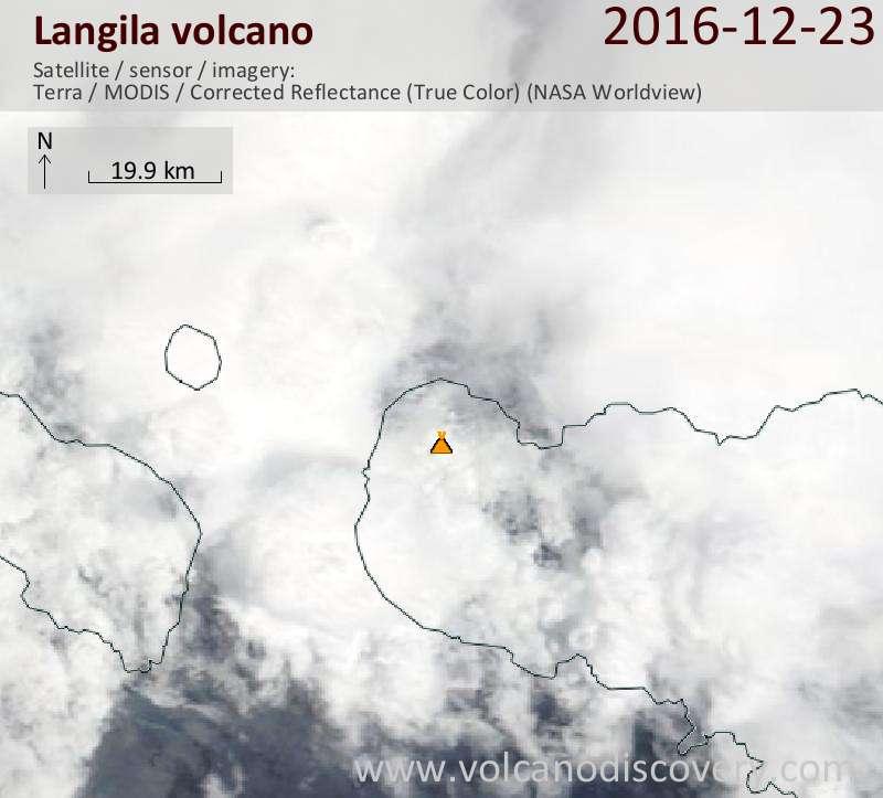 Satellite image of Langila volcano on 23 Dec 2016