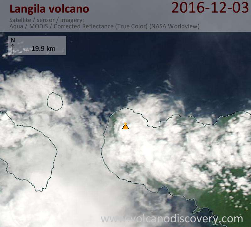 Satellite image of Langila volcano on  4 Dec 2016