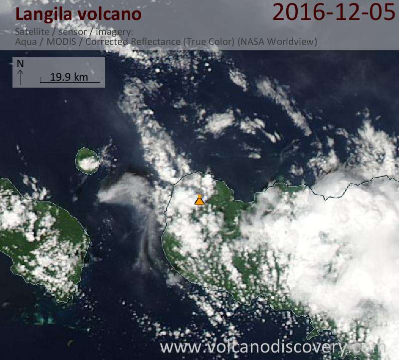 Satellite image of Langila volcano on  5 Dec 2016
