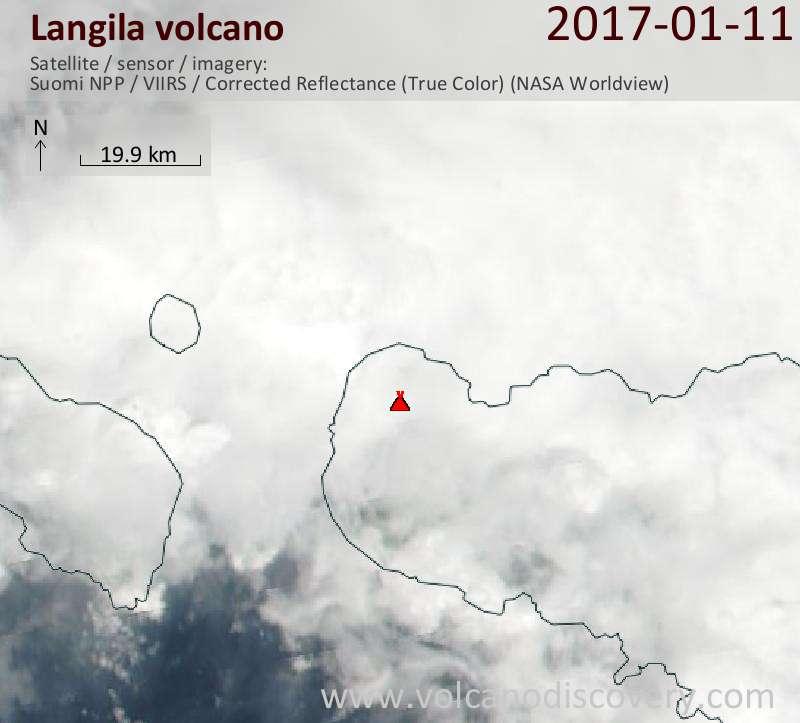 Satellite image of Langila volcano on 11 Jan 2017