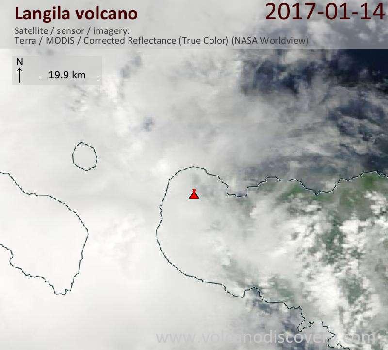 Satellite image of Langila volcano on 14 Jan 2017